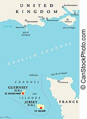 Channel Islands Guernsey and Jersey, political map - Channel...