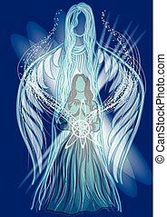 channelling. two silhouette in energy light on blue...