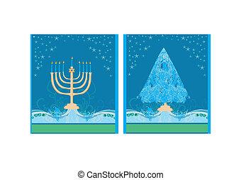 channuka, árbol, navidad feliz, tarjetas, holidays!, par