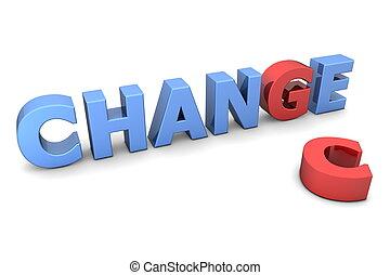 chans, till, ändring, -, röd, och blåa