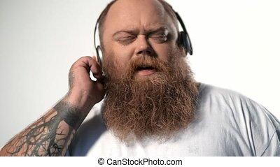 chanson, écouteurs, graisse, calme, apprécier, homme