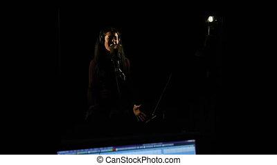 chanson, femme, chanteur, studio., enregistrement, chant