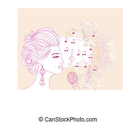 chanson, main, fond, floral, dessiné, girl, chant