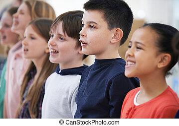 chant, étape, ensemble, école, groupe, chœur, enfants
