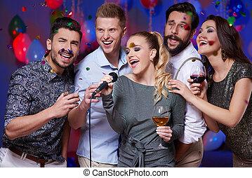 chant, amis, groupe, karaoke, fête
