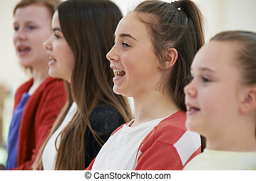 chant, ensemble, école, groupe, chœur, enfants