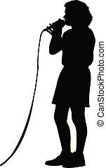 chant, girl, silhouette, vecteur