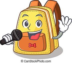 chant, gosses école, microphone, sac à dos, heureux