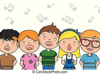 chant, groupe, enfants