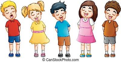 chant, groupe, enfants, ensemble, dessin animé