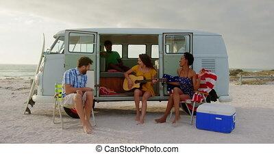 chant, jeu guitare, 4k, chanson, amis
