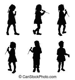 chant, microphone, silhouette, enfant