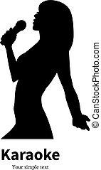 chant, microphone, vecteur, silhouette, girl