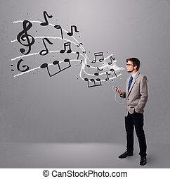chant, musical, écoute, garçon, musique, beau, notes