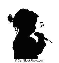 chant, silhouette, illustration, enfant