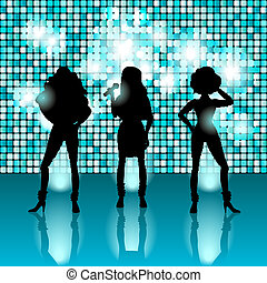 chant, style, filles, disco