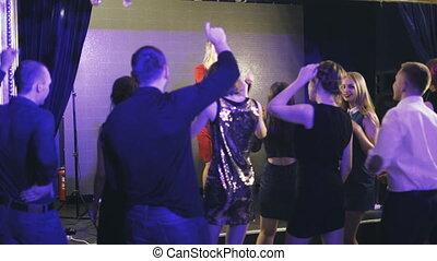 chante, chanteur, barre, beauté, girl, karaoke, étape