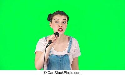 chante, girl, mouvements, mouvement, joli, musique, lent, microphone, battement