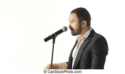 chante, microphone, brutal, studio, homme, barbe