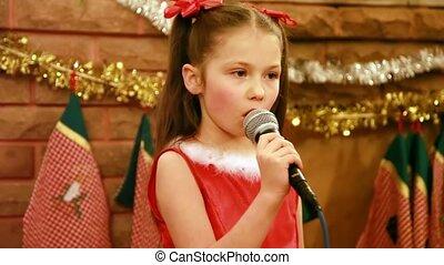 chante, microphone, girl, noël, chanson