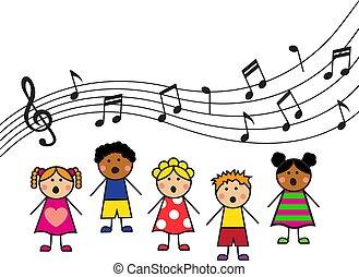 chanter, dessin animé, enfants