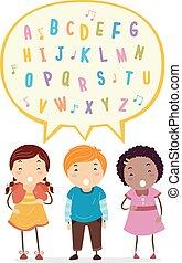 chanter, gosses, stickman, illustration, alphabet