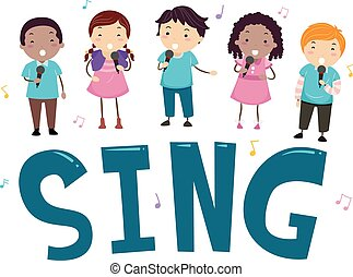 chanter, gosses, stickman, illustration