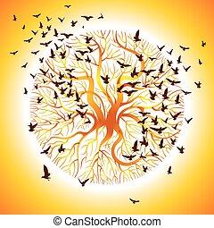 chanter victoire, vecteur, arbre