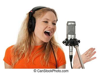 chanteur, écouteurs, chant, microphone
