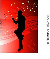 chanteur, arrière-plan rouge