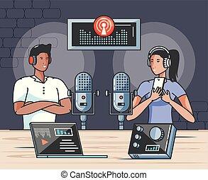 chanteur, audio, studio, couple, numérique
