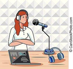 chanteur, audio, studio, femme, numérique