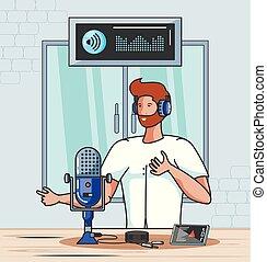 chanteur, audio, studio, numérique