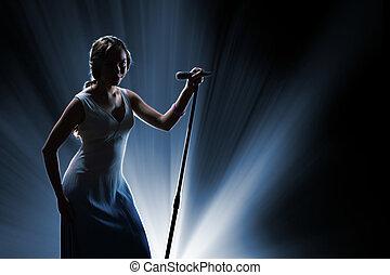 chanteur, femme, étape