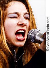 chanteur, femme, -, microphone, musique, rocher