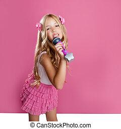 chanteur, mode, étoile, aimer, poupée, mic, peu, enfants