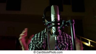 chanteur, musique, mâle, chant, studio