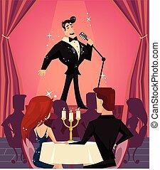 chanteur, restaurant