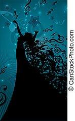 chanteur, silhouette, aimer, opéra, notes, cheveux, musical