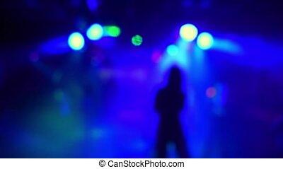 chanteur, silhouette, danse, performance, girl, étape