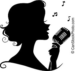 chanteur, silhouette, jazz, illustration, retro, girl