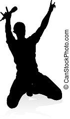 chanteur, silhouette, pays, pop, étoile pierre, ou