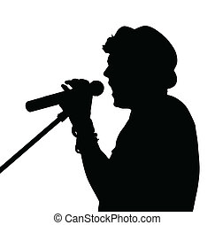 chanteur, silhouette, pop