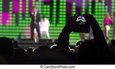 chanteur, spectateurs, concert, foule, musique, devant, étape
