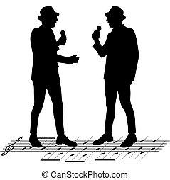 chanteur, vecteur, illustration