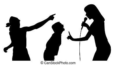 chanteur, ventilateurs, femme