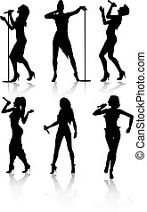 chanteurs, ensemble, silhouette, femme