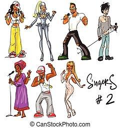 chanteurs, -, partie, 2., main, dessiné, collection