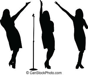 chanteurs, vecteur, -