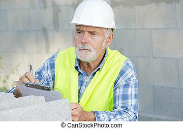 chantier, contremaître, presse-papiers, construction, constructeur